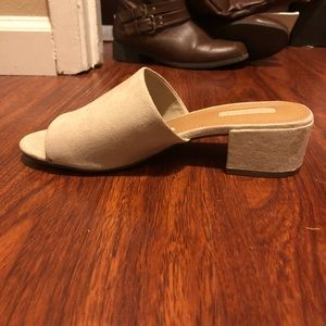women's low heeled taupe mules.